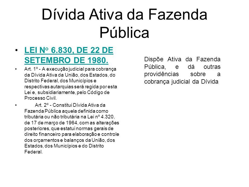 Dívida Ativa da Fazenda Pública LEI N o 6.830, DE 22 DE SETEMBRO DE 1980.LEI N o 6.830, DE 22 DE SETEMBRO DE 1980.