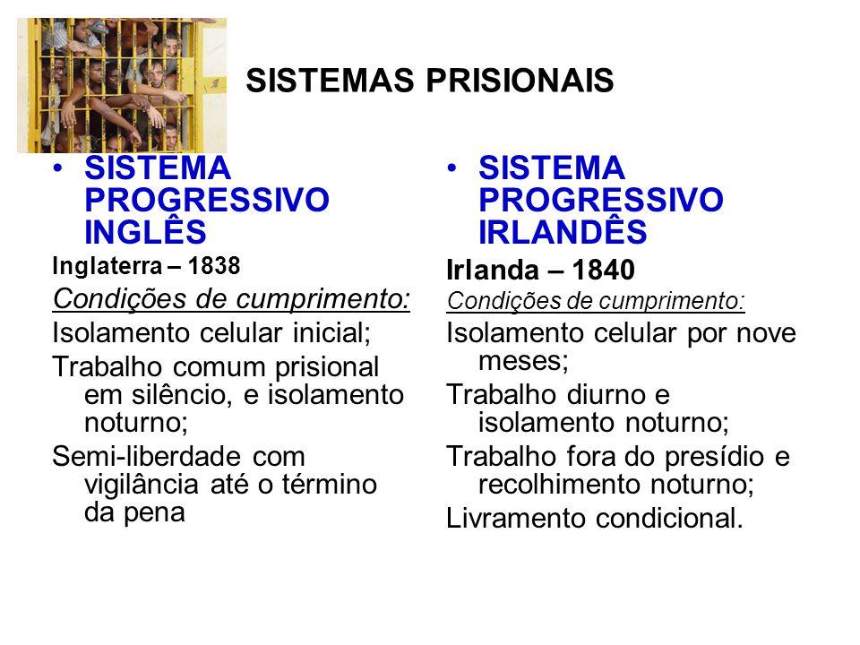 SISTEMA BRASILEIRO O Brasil adotou um sistema progressivo nos moldes irlandeses, imprimindo-lhe significativas modificações.