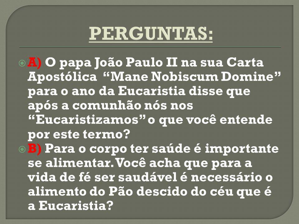 A) O papa João Paulo II na sua Carta Apostólica Mane Nobiscum Domine para o ano da Eucaristia disse que após a comunhão nós nos Eucaristizamos o que v