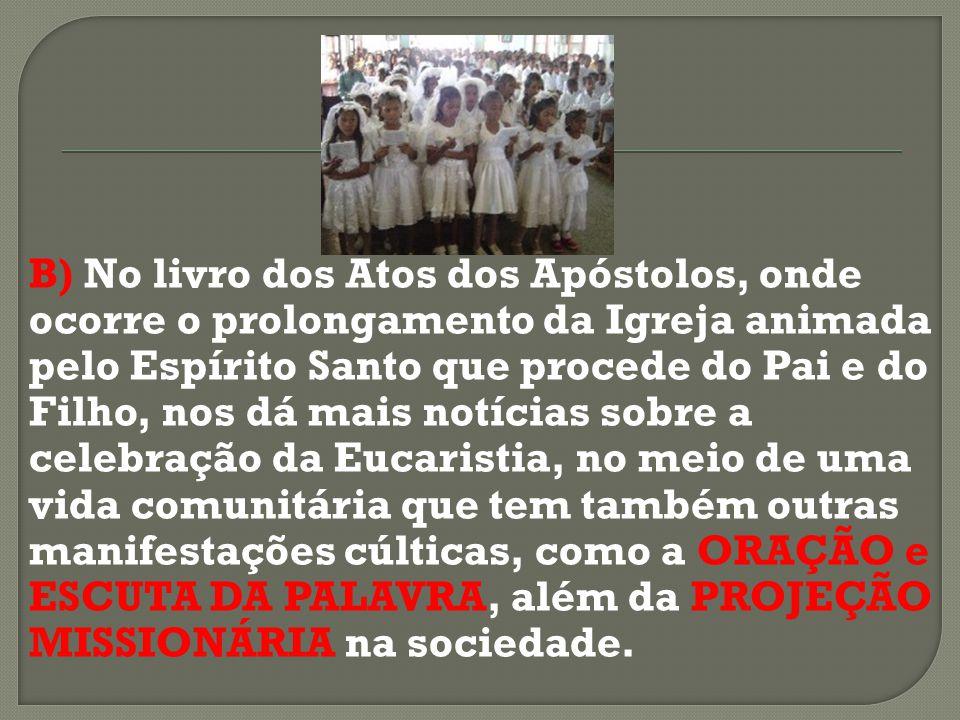 B) No livro dos Atos dos Apóstolos, onde ocorre o prolongamento da Igreja animada pelo Espírito Santo que procede do Pai e do Filho, nos dá mais notíc