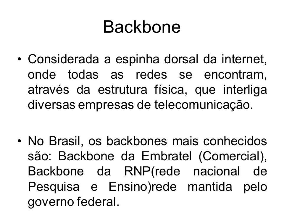 Backbone Considerada a espinha dorsal da internet, onde todas as redes se encontram, através da estrutura física, que interliga diversas empresas de telecomunicação.