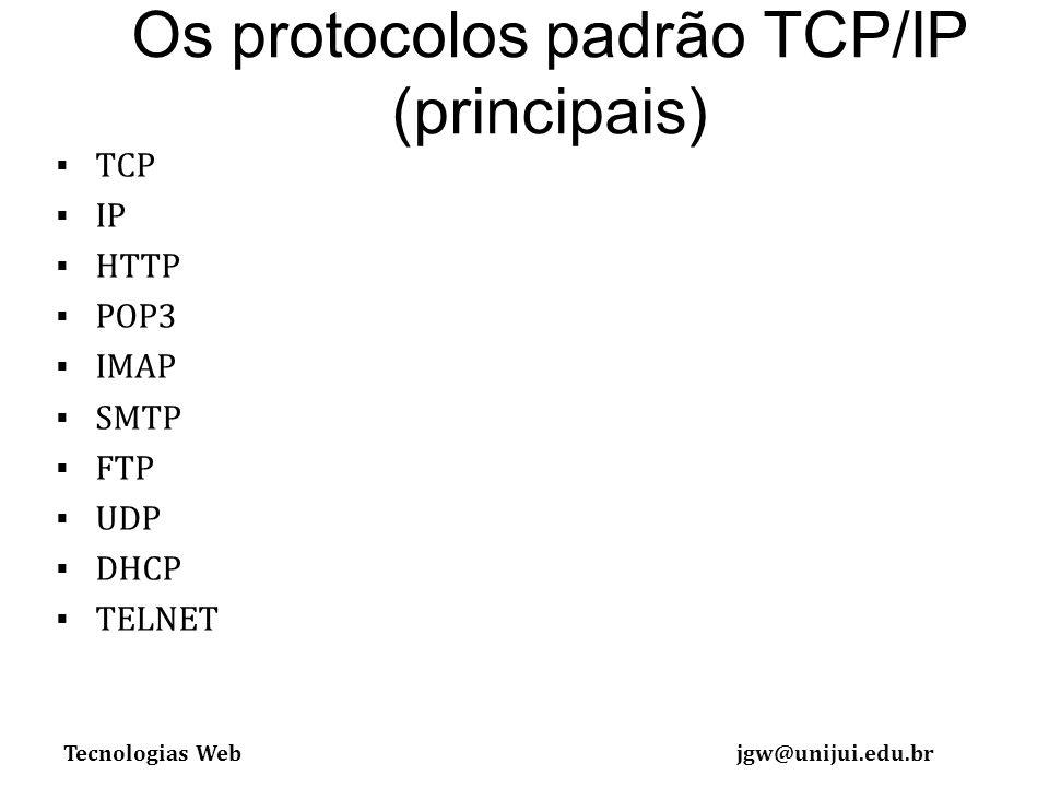 Tecnologias Webjgw@unijui.edu.br Os protocolos padrão TCP/IP (principais) TCP IP HTTP POP3 IMAP SMTP FTP UDP DHCP TELNET