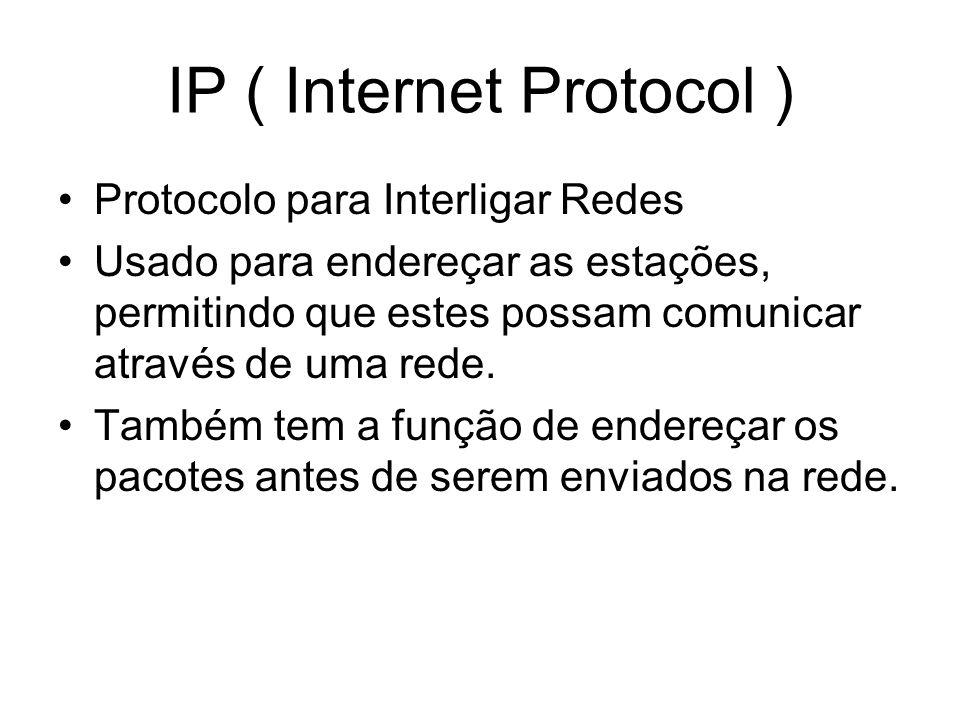 IP ( Internet Protocol ) Protocolo para Interligar Redes Usado para endereçar as estações, permitindo que estes possam comunicar através de uma rede.