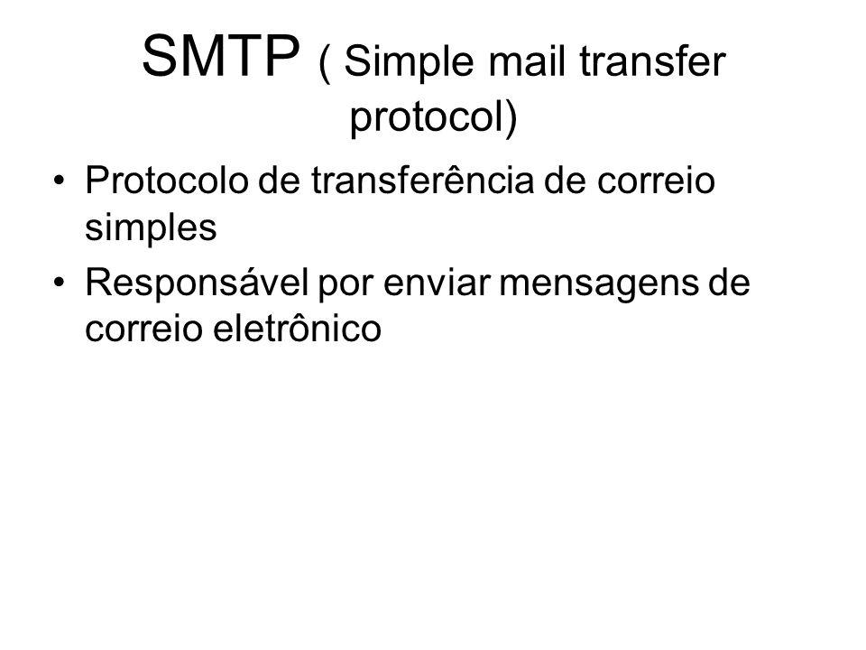 SMTP ( Simple mail transfer protocol) Protocolo de transferência de correio simples Responsável por enviar mensagens de correio eletrônico