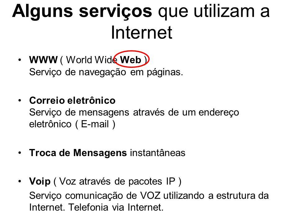 Alguns serviços que utilizam a Internet WWW ( World Wide Web ) Serviço de navegação em páginas.