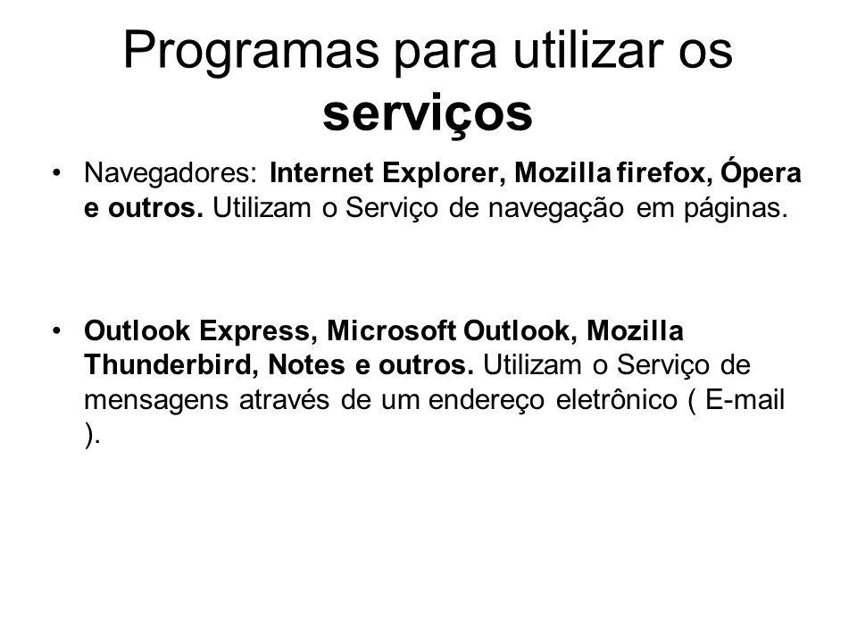 Programas para utilizar os serviços Navegadores: Internet Explorer, Mozilla firefox, Ópera e outros.