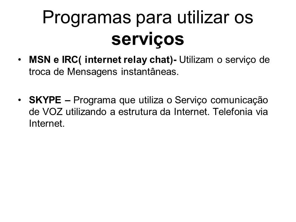 Programas para utilizar os serviços MSN e IRC( internet relay chat)- Utilizam o serviço de troca de Mensagens instantâneas.