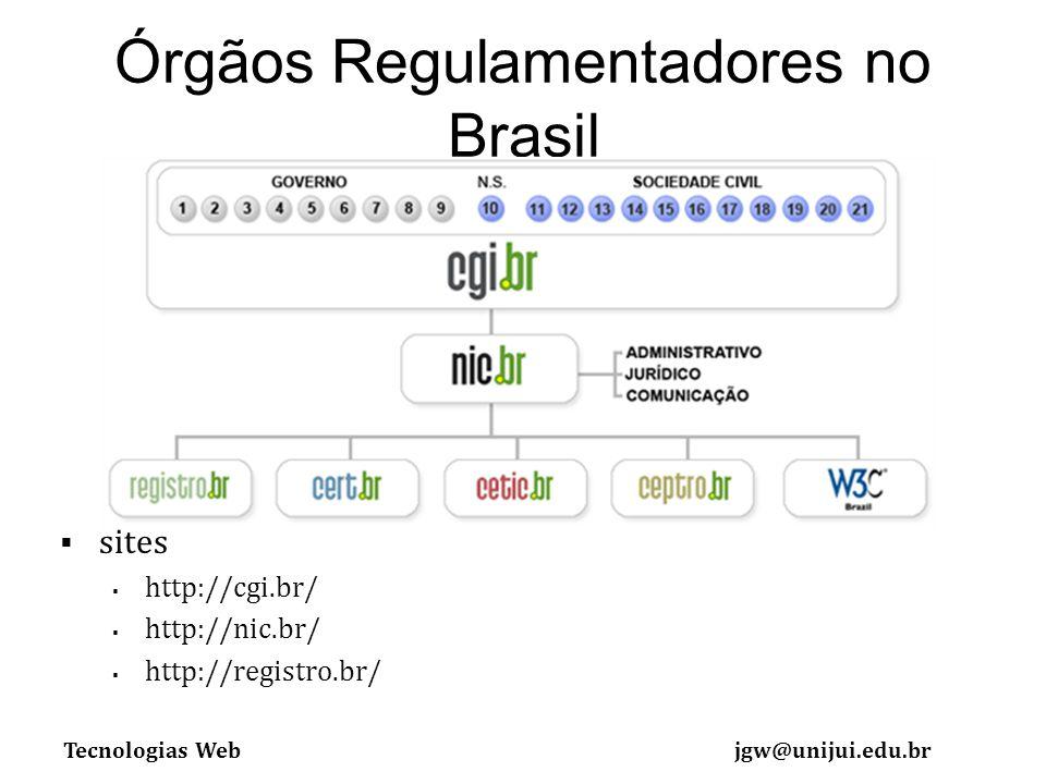 Tecnologias Webjgw@unijui.edu.br Órgãos Regulamentadores no Brasil sites http://cgi.br/ http://nic.br/ http://registro.br/