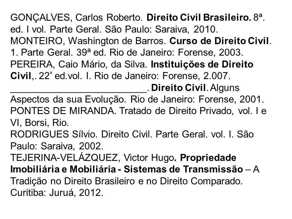 GONÇALVES, Carlos Roberto. Direito Civil Brasileiro. 8ª. ed. I vol. Parte Geral. São Paulo: Saraiva, 2010. MONTEIRO, Washington de Barros. Curso de Di