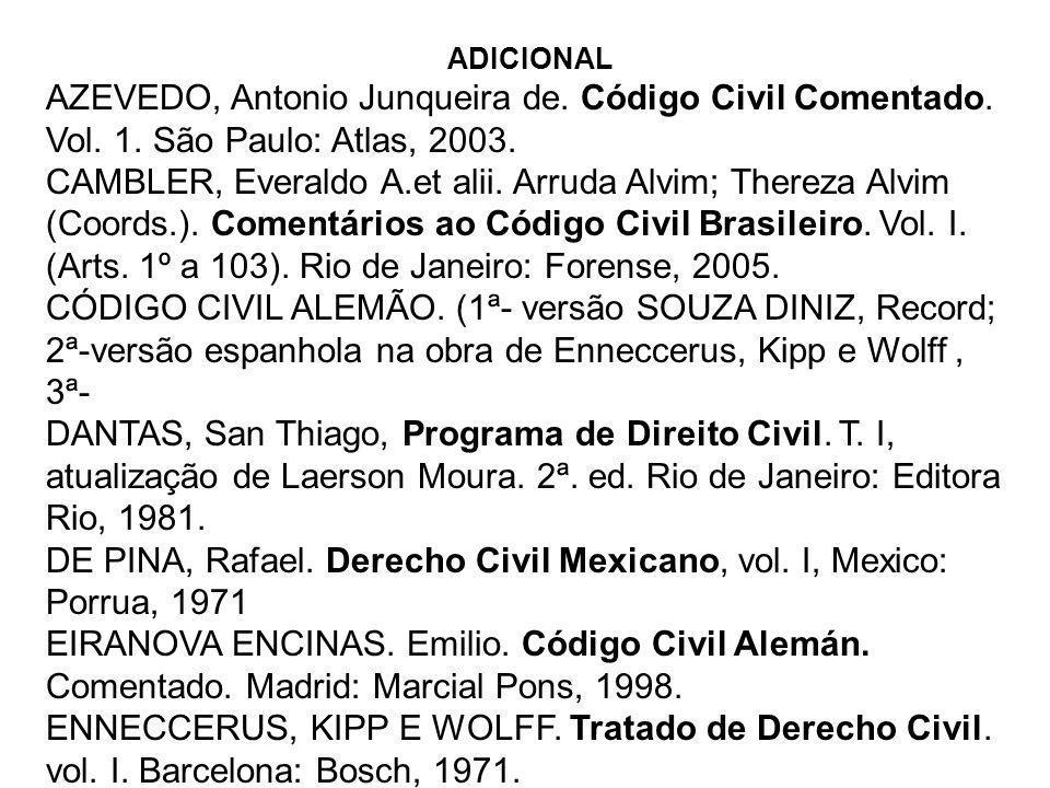 ADICIONAL AZEVEDO, Antonio Junqueira de. Código Civil Comentado. Vol. 1. São Paulo: Atlas, 2003. CAMBLER, Everaldo A.et alii. Arruda Alvim; Thereza Al