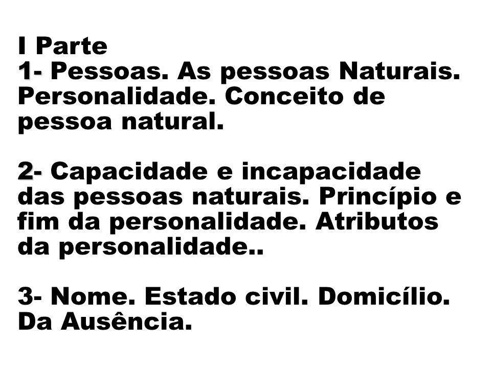 I Parte 1- 1- Pessoas. As pessoas Naturais. Personalidade. Conceito de pessoa natural. 2- 2- Capacidade e incapacidade das pessoas naturais. Princípio