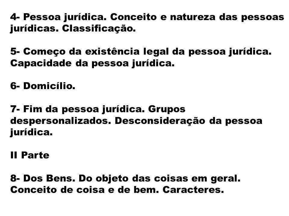 4- 4- Pessoa jurídica. Conceito e natureza das pessoas jurídicas. Classificação. 5- 5- Começo da existência legal da pessoa jurídica. Capacidade da pe