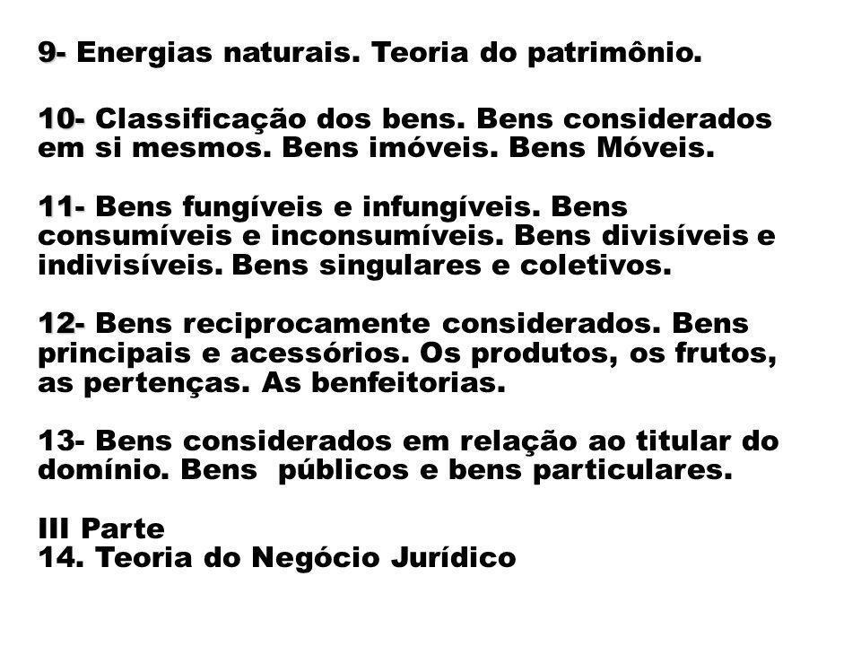 9- 9- Energias naturais. Teoria do patrimônio. 10- 10- Classificação dos bens. Bens considerados em si mesmos. Bens imóveis. Bens Móveis. 11- 11- Bens