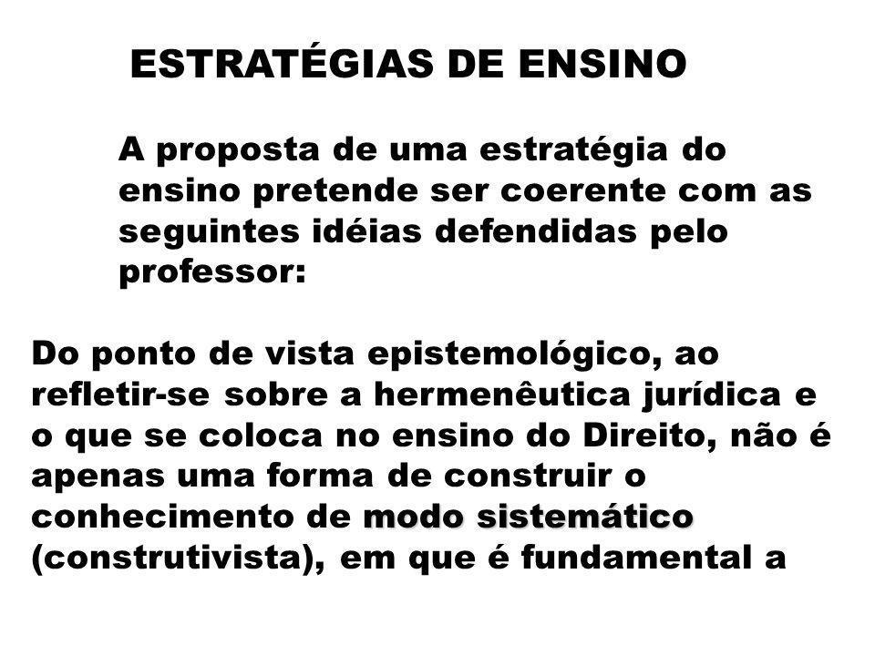 ESTRATÉGIAS DE ENSINO A proposta de uma estratégia do ensino pretende ser coerente com as seguintes idéias defendidas pelo professor: modo sistemático
