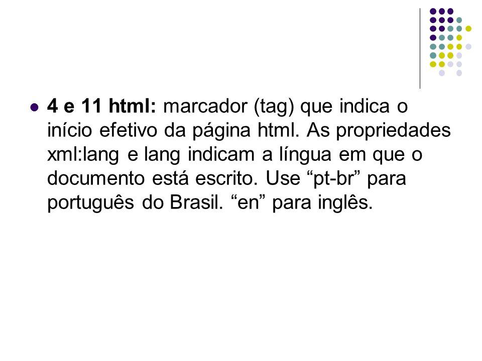4 e 11 html: marcador (tag) que indica o início efetivo da página html. As propriedades xml:lang e lang indicam a língua em que o documento está escri
