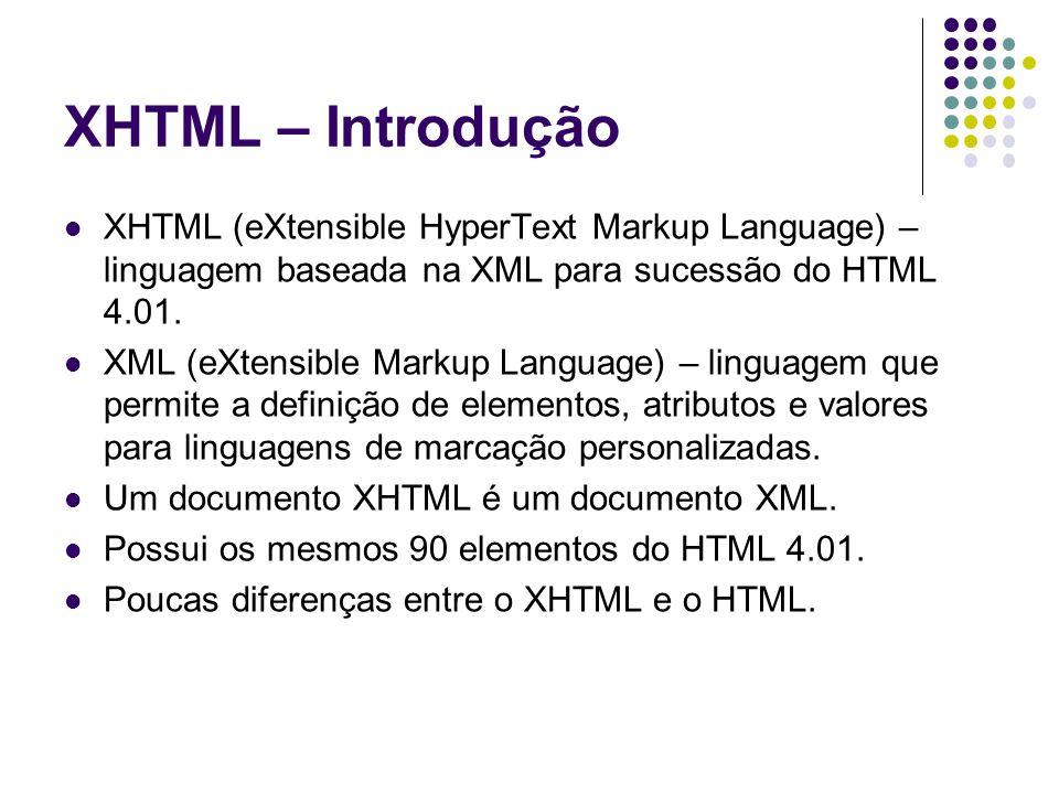XHTML – Introdução XHTML (eXtensible HyperText Markup Language) – linguagem baseada na XML para sucessão do HTML 4.01. XML (eXtensible Markup Language