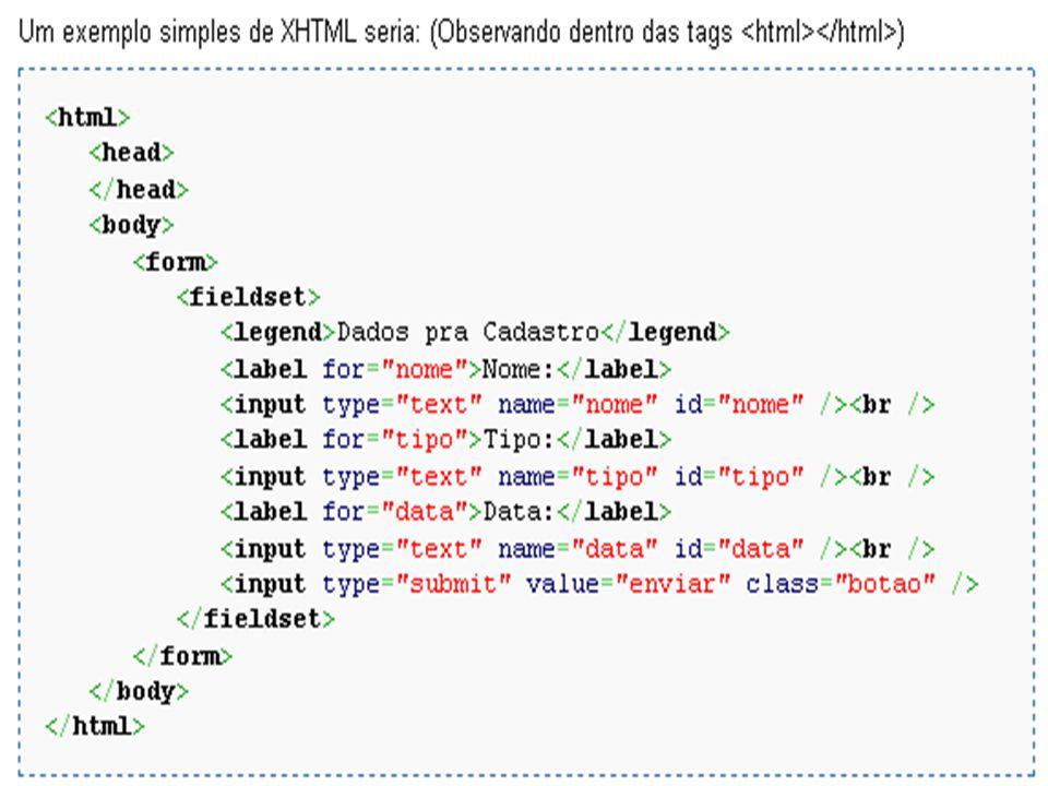 XHTML XHTML, ou eXtensible Hypertext Markup Language - reformulação da linguagem de marcação HTML baseada em XML; Combina as tags de marcação HTML com regras da XML; Tem em vista a exibição de páginas Web em diversos dispositivos (televisão, palm, celular, etc); Acessibilidade.