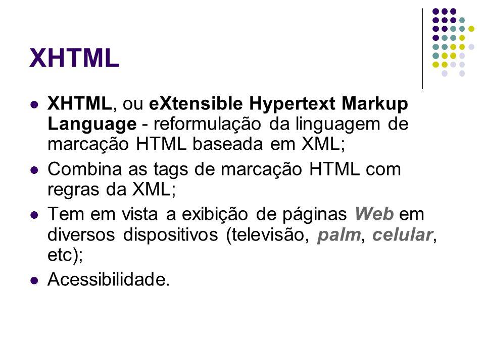 XHTML XHTML, ou eXtensible Hypertext Markup Language - reformulação da linguagem de marcação HTML baseada em XML; Combina as tags de marcação HTML com