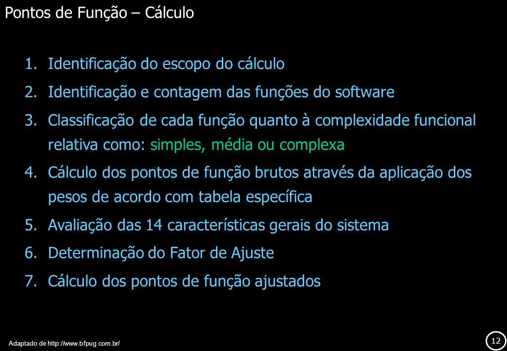12 1.Identificação do escopo do cálculo 2.Identificação e contagem das funções do software 3.Classificação de cada função quanto à complexidade funcio