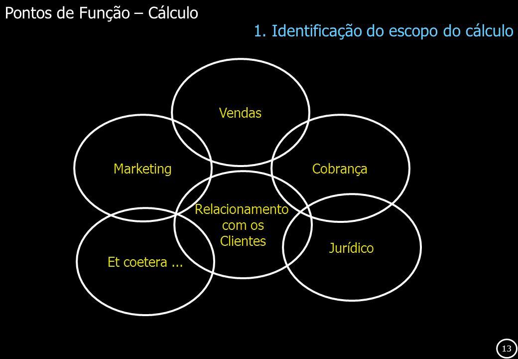 13 Pontos de Função – Cálculo 1. Identificação do escopo do cálculo Marketing Vendas Cobrança Relacionamento com os Clientes Jurídico Et coetera...