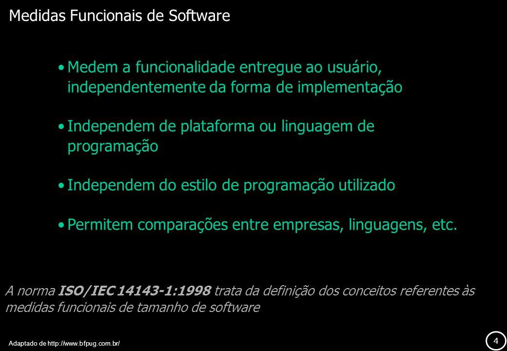 4 Medidas Funcionais de Software Medem a funcionalidade entregue ao usuário, independentemente da forma de implementação Independem de plataforma ou l