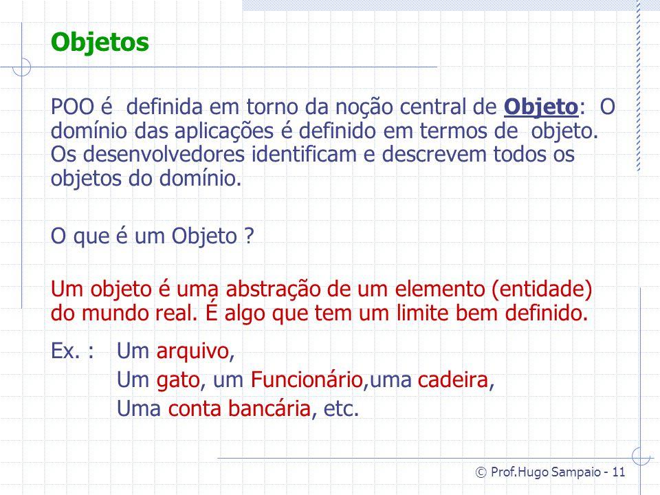© Prof.Hugo Sampaio - 11 Objetos POO é definida em torno da noção central de Objeto: O domínio das aplicações é definido em termos de objeto.