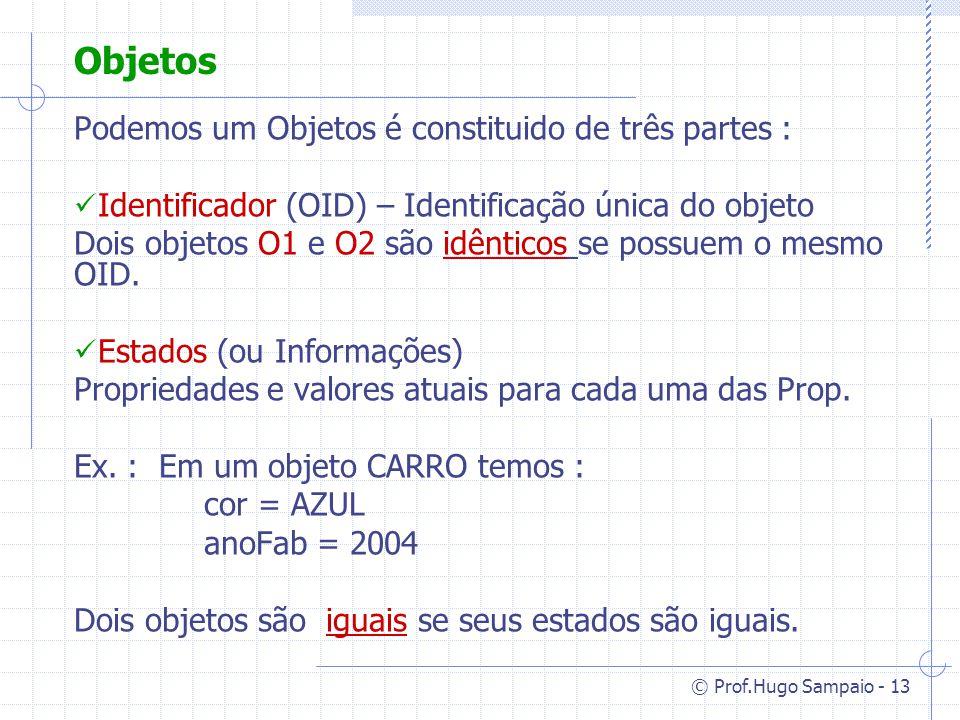 © Prof.Hugo Sampaio - 13 Objetos Podemos um Objetos é constituido de três partes : Identificador (OID) – Identificação única do objeto Dois objetos O1 e O2 são idênticos se possuem o mesmo OID.