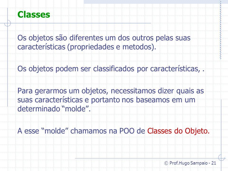 © Prof.Hugo Sampaio - 21 Classes Os objetos são diferentes um dos outros pelas suas características (propriedades e metodos).