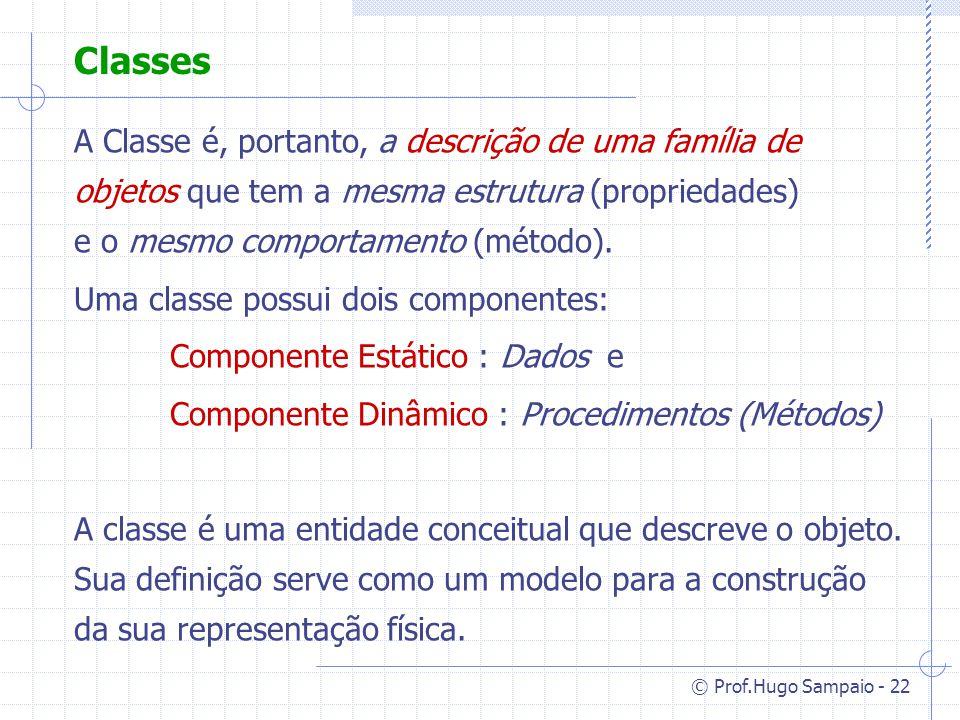 © Prof.Hugo Sampaio - 22 Classes A Classe é, portanto, a descrição de uma família de objetos que tem a mesma estrutura (propriedades) e o mesmo comportamento (método).