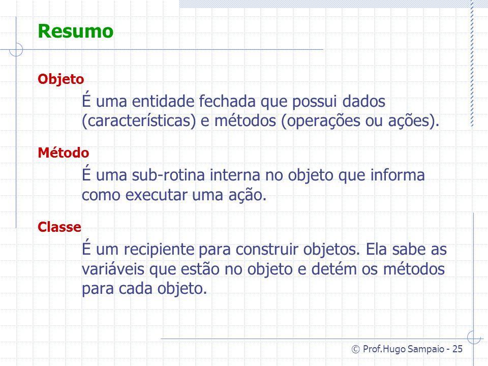 © Prof.Hugo Sampaio - 25 Resumo Objeto É uma entidade fechada que possui dados (características) e métodos (operações ou ações).