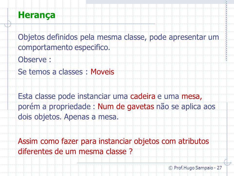© Prof.Hugo Sampaio - 27 Herança Objetos definidos pela mesma classe, pode apresentar um comportamento especifico.