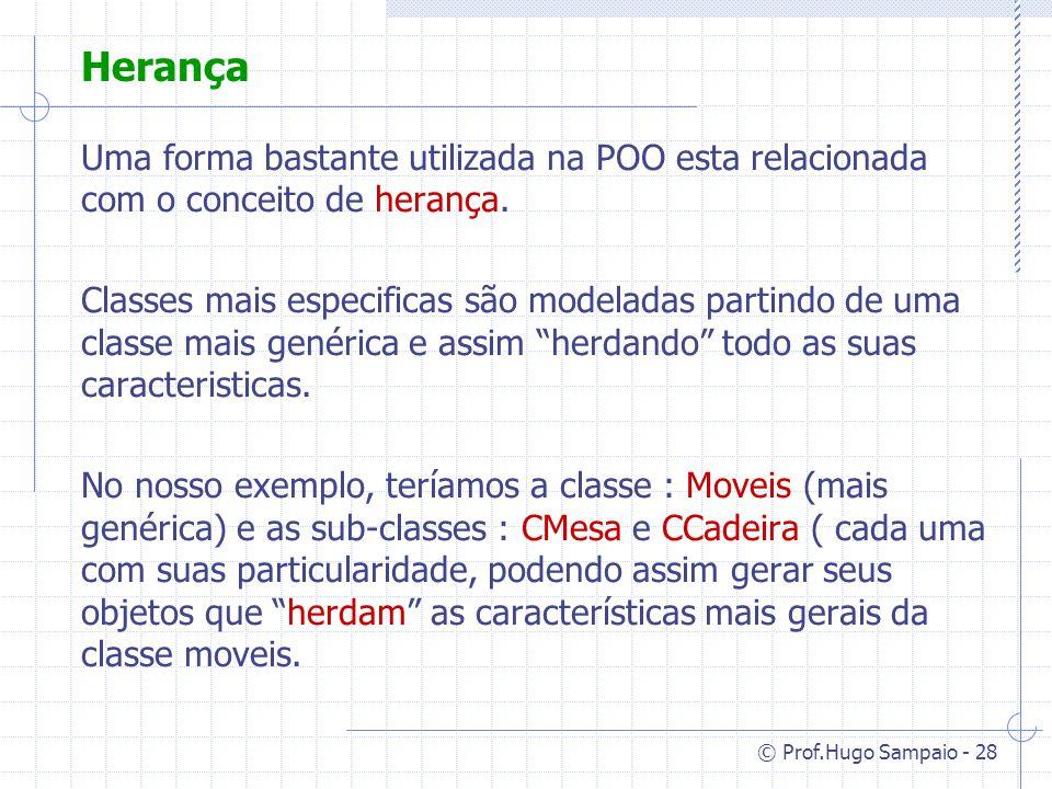 © Prof.Hugo Sampaio - 28 Herança Uma forma bastante utilizada na POO esta relacionada com o conceito de herança.