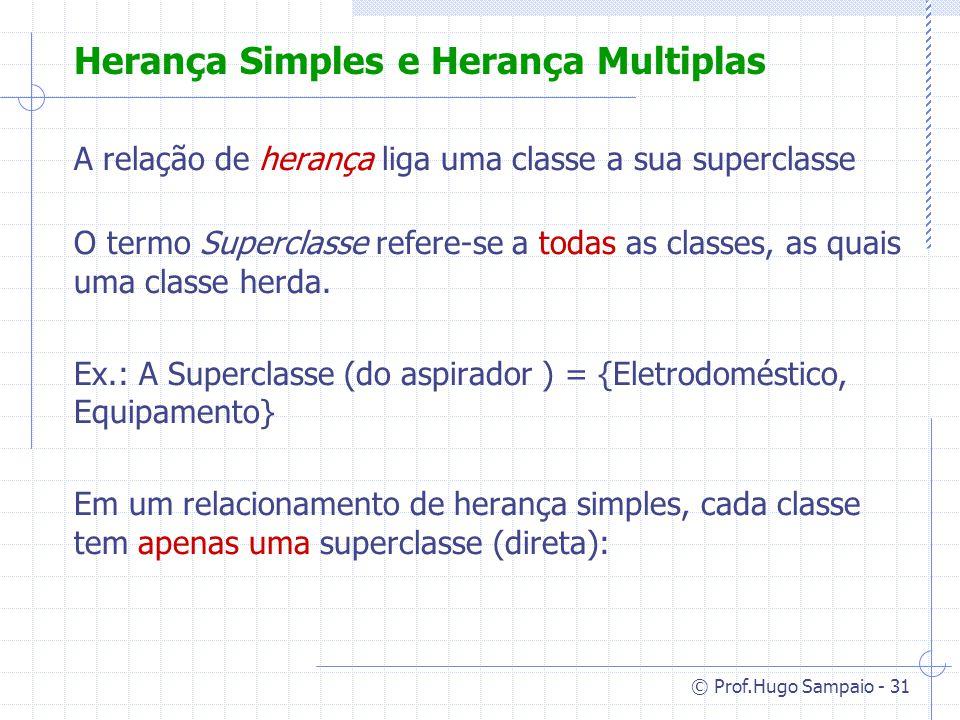 © Prof.Hugo Sampaio - 31 Herança Simples e Herança Multiplas A relação de herança liga uma classe a sua superclasse O termo Superclasse refere-se a todas as classes, as quais uma classe herda.