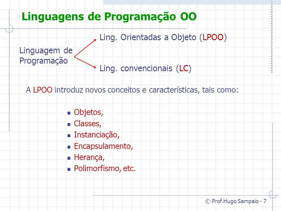 © Prof.Hugo Sampaio - 38 Metaclasse Desta forma todo objetos descende da classe Object.