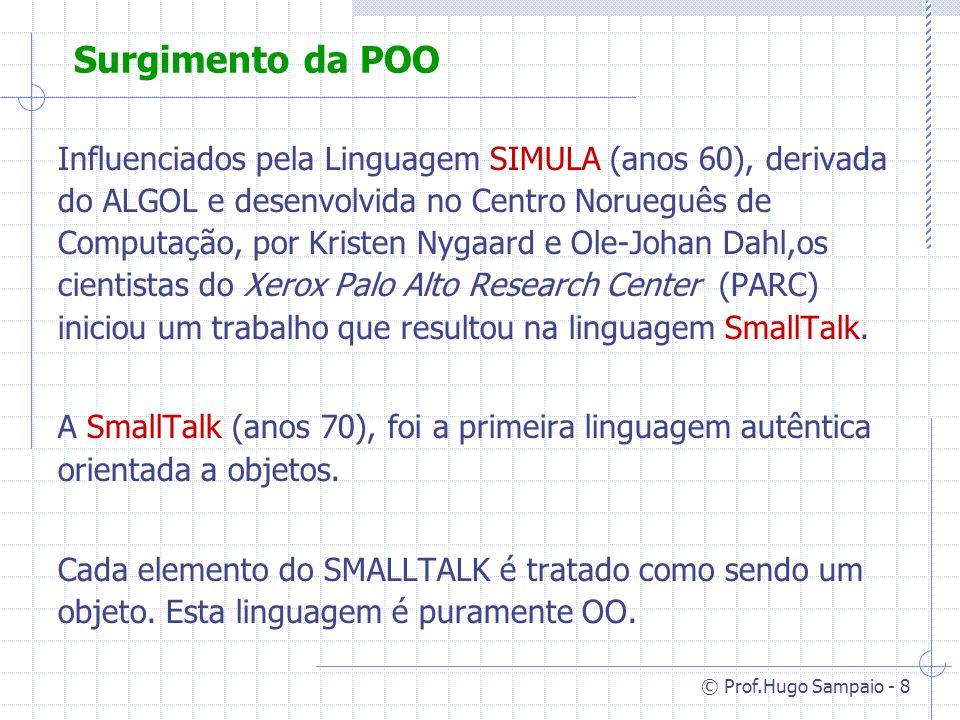© Prof.Hugo Sampaio - 8 Surgimento da POO Influenciados pela Linguagem SIMULA (anos 60), derivada do ALGOL e desenvolvida no Centro Norueguês de Computação, por Kristen Nygaard e Ole-Johan Dahl,os cientistas do Xerox Palo Alto Research Center (PARC) iniciou um trabalho que resultou na linguagem SmallTalk.