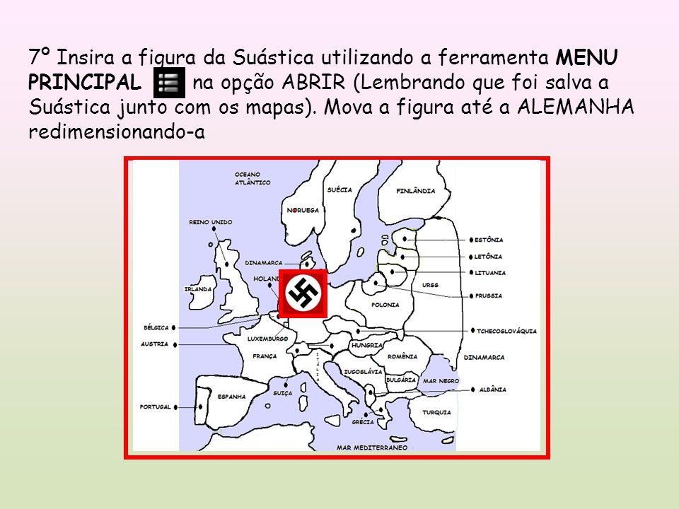 7º Insira a figura da Suástica utilizando a ferramenta MENU PRINCIPAL na opção ABRIR (Lembrando que foi salva a Suástica junto com os mapas).