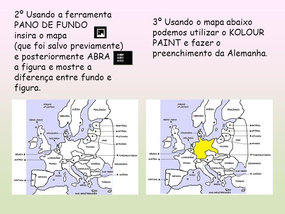 2º Usando a ferramenta PANO DE FUNDO insira o mapa (que foi salvo previamente) e posteriormente ABRA a figura e mostre a diferença entre fundo e figura.