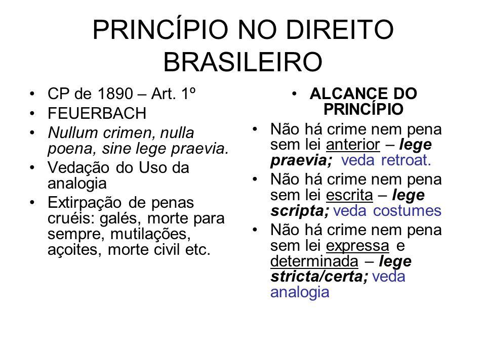 PRINCÍPIO NO DIREITO BRASILEIRO CP de 1890 – Art. 1º FEUERBACH Nullum crimen, nulla poena, sine lege praevia. Vedação do Uso da analogia Extirpação de
