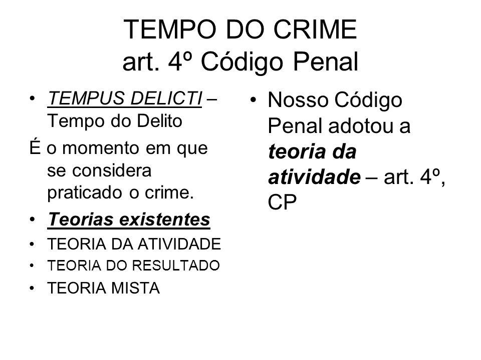TEMPO DO CRIME art. 4º Código Penal TEMPUS DELICTI – Tempo do Delito É o momento em que se considera praticado o crime. Teorias existentes TEORIA DA A