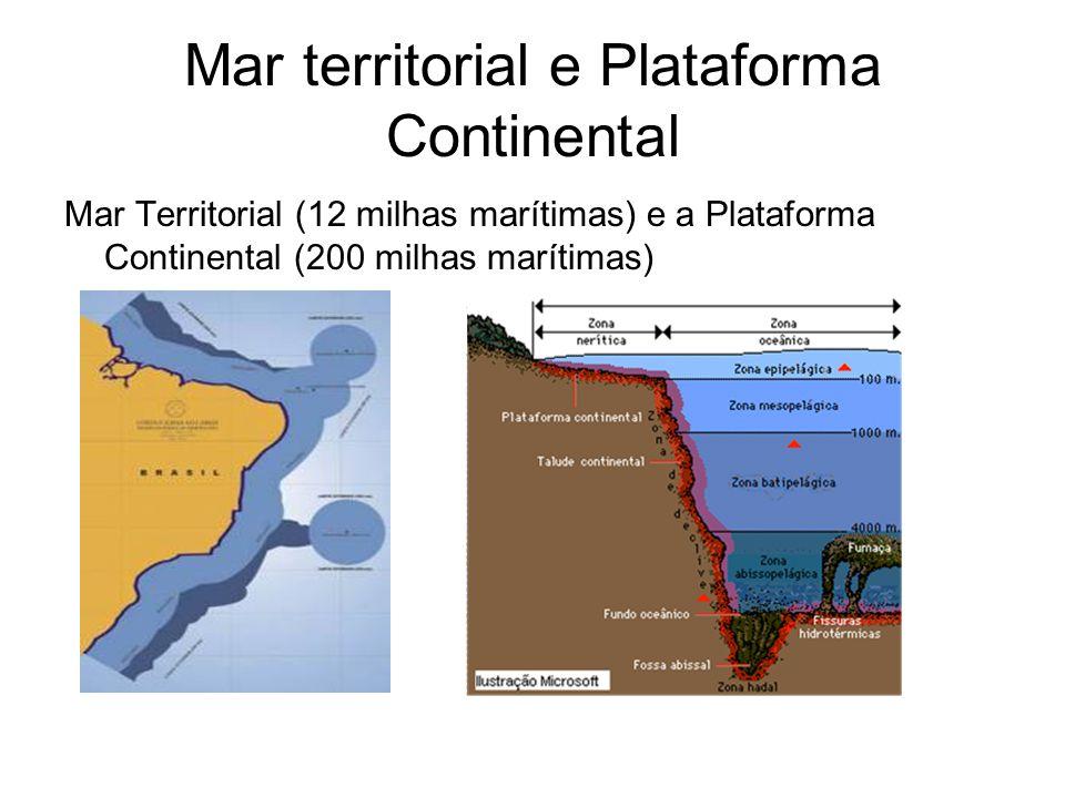Mar territorial e Plataforma Continental Mar Territorial (12 milhas marítimas) e a Plataforma Continental (200 milhas marítimas)