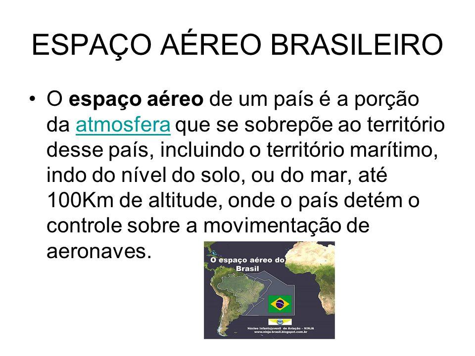 ESPAÇO AÉREO BRASILEIRO O espaço aéreo de um país é a porção da atmosfera que se sobrepõe ao território desse país, incluindo o território marítimo, i