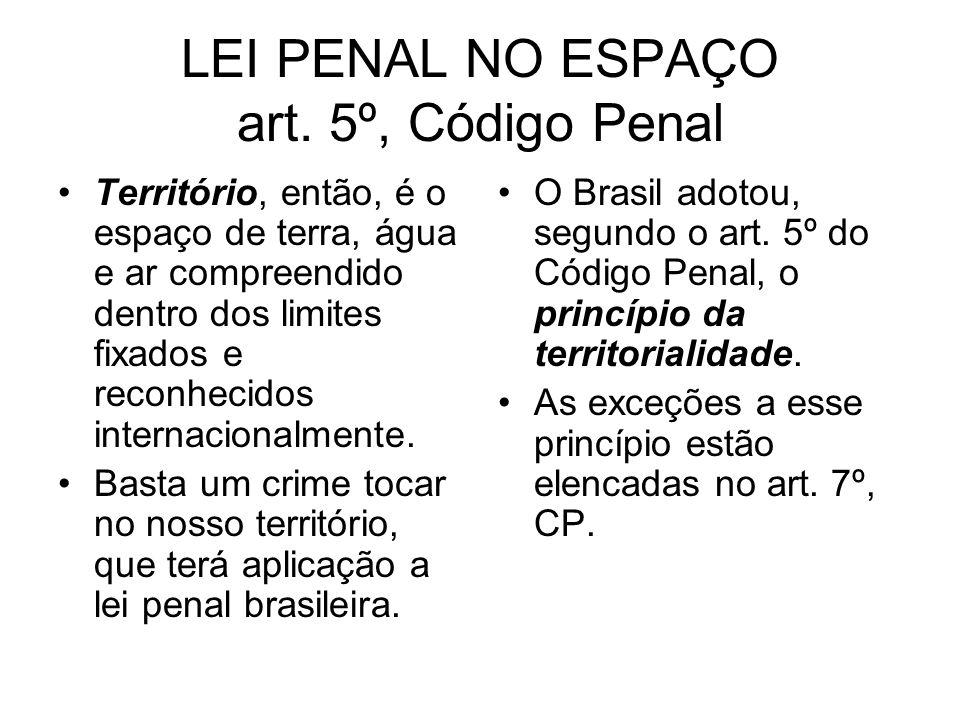 LEI PENAL NO ESPAÇO art. 5º, Código Penal Território, então, é o espaço de terra, água e ar compreendido dentro dos limites fixados e reconhecidos int