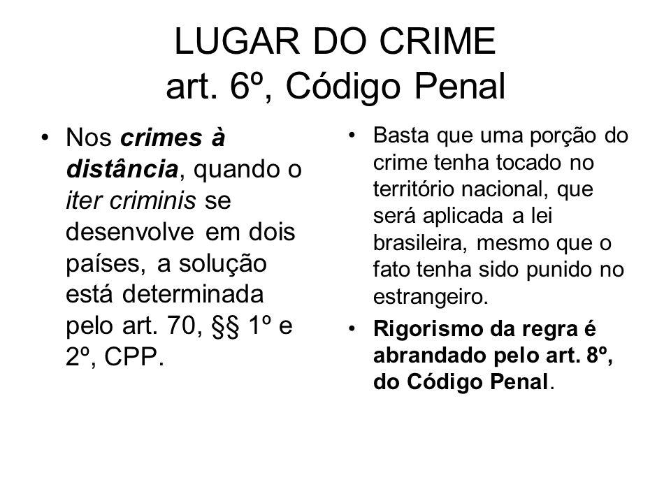 LUGAR DO CRIME art. 6º, Código Penal Nos crimes à distância, quando o iter criminis se desenvolve em dois países, a solução está determinada pelo art.