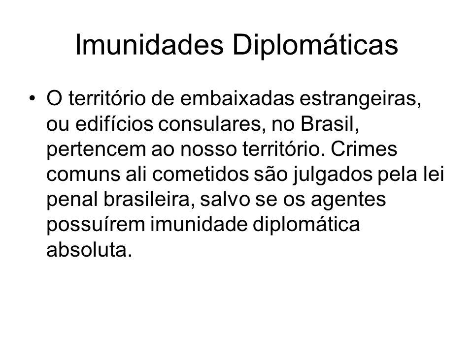 Imunidades Diplomáticas O território de embaixadas estrangeiras, ou edifícios consulares, no Brasil, pertencem ao nosso território. Crimes comuns ali