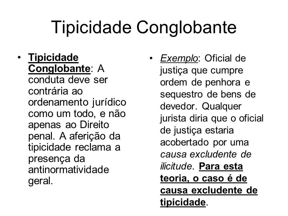 Tipicidade Conglobante Tipicidade Conglobante: A conduta deve ser contrária ao ordenamento jurídico como um todo, e não apenas ao Direito penal. A afe