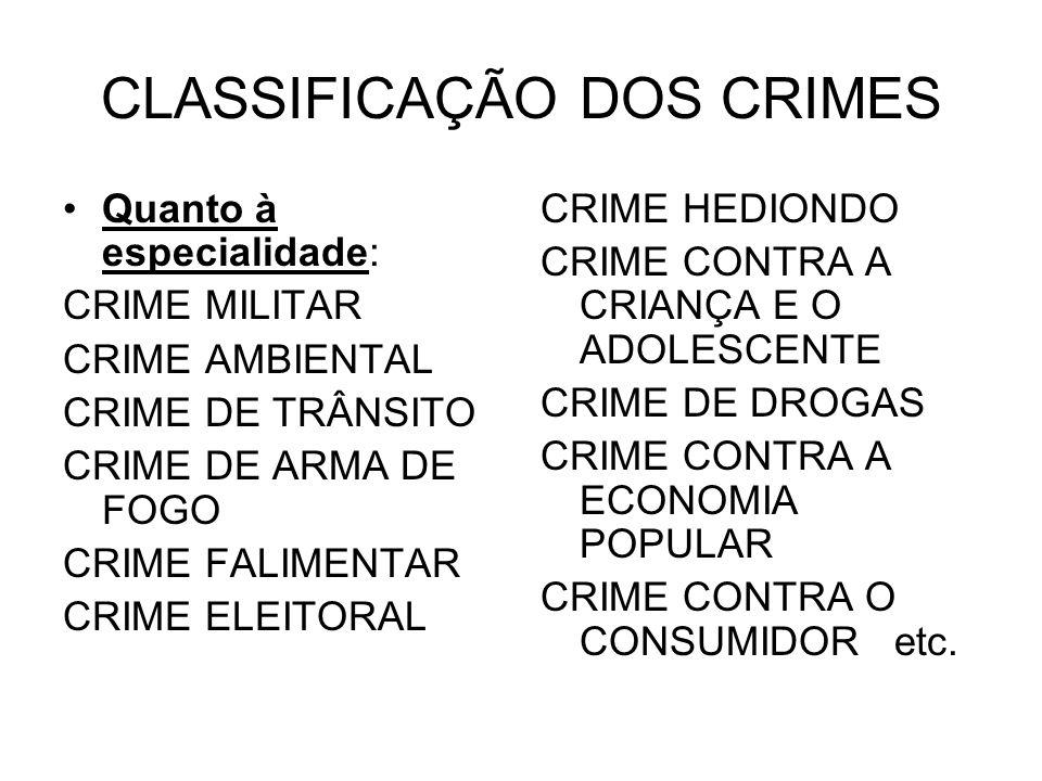 CLASSIFICAÇÃO DOS CRIMES Quanto à especialidade: CRIME MILITAR CRIME AMBIENTAL CRIME DE TRÂNSITO CRIME DE ARMA DE FOGO CRIME FALIMENTAR CRIME ELEITORA