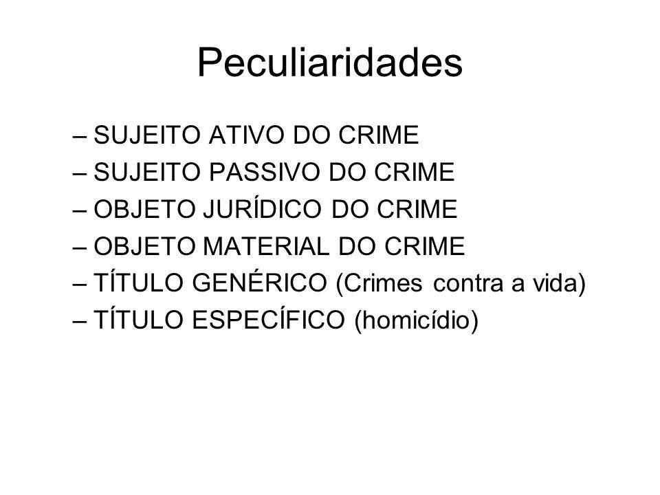 Peculiaridades –SUJEITO ATIVO DO CRIME –SUJEITO PASSIVO DO CRIME –OBJETO JURÍDICO DO CRIME –OBJETO MATERIAL DO CRIME –TÍTULO GENÉRICO (Crimes contra a