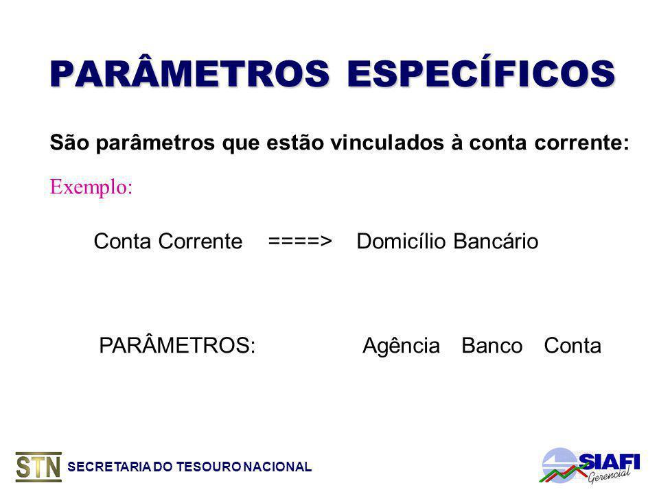 SECRETARIA DO TESOURO NACIONAL PARÂMETROS ESPECÍFICOS São parâmetros que estão vinculados à conta corrente: Conta Corrente ====> Domicílio Bancário PARÂMETROS:AgênciaBancoConta Exemplo: