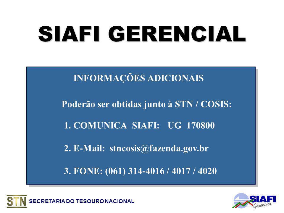 SIAFI GERENCIAL INFORMAÇÕES ADICIONAIS Poderão ser obtidas junto à STN / COSIS: 1.
