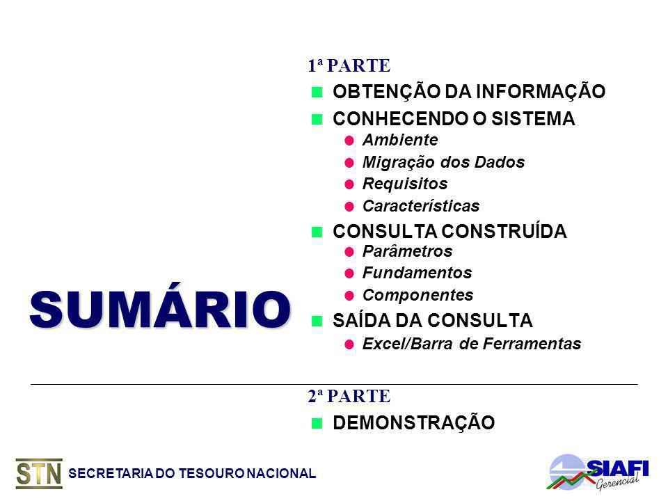 SECRETARIA DO TESOURO NACIONAL SUMÁRIOSUMÁRIO 1ª PARTE OBTENÇÃO DA INFORMAÇÃO CONHECENDO O SISTEMA Ambiente Migração dos Dados Requisitos Características CONSULTA CONSTRUÍDA Parâmetros Fundamentos Componentes SAÍDA DA CONSULTA Excel/Barra de Ferramentas 2ª PARTE DEMONSTRAÇÃO